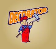 Desenhos animados retros do decorador ilustração stock
