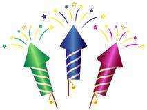 Desenhos animados Rocket Fireworks Clipart ilustração royalty free
