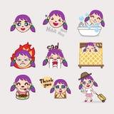 Desenhos animados roxos da emoção da menina do cabelo Imagens de Stock Royalty Free