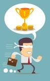 Desenhos animados running do homem de negócios do homem novo uau entusiasmado Imagens de Stock Royalty Free