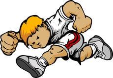 Desenhos animados Running do menino dos desenhos animados ilustração stock