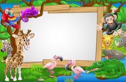 Desenhos animados Safari Animals Sign Imagem de Stock