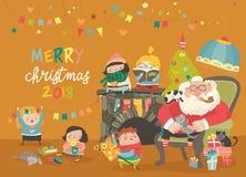Desenhos animados Santa Claus com crianças e presentes Fotos de Stock