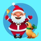 Desenhos animados Santa Claus com um sino dourado e um cão bonito do canto Imagens de Stock