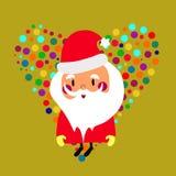 Desenhos animados Santa CLaus e coração colorido Foto de Stock Royalty Free