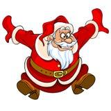 Desenhos animados Santa Claus que salta com alegria Fotos de Stock