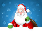 Desenhos animados Santa Claus sobre uma placa branca Foto de Stock