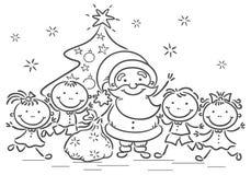Desenhos animados Santa com crianças Fotos de Stock