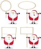 Desenhos animados Santa com sinal em branco Fotos de Stock Royalty Free