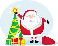 Desenhos animados Santa, estrela, árvore de Natal e presentes Imagem de Stock