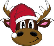 Desenhos animados Santa Hat Reindeer Fotografia de Stock