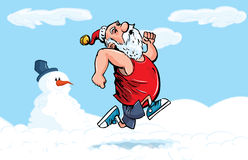 Desenhos animados Santa que funciona para o exercício na neve Fotos de Stock Royalty Free