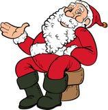 Desenhos animados Santa que senta-se em uma cadeira Fotos de Stock