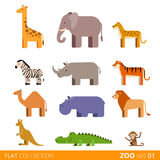 Desenhos animados selvagens do animal doméstico da exploração agrícola do ícone liso do vetor Imagem de Stock Royalty Free
