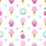 Desenhos animados sem emenda do coração do teste padrão do fruto do gelado Fotos de Stock