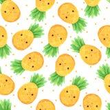 Desenhos animados sem emenda do teste padrão do abacaxi pintados à mão na aquarela imagens de stock royalty free