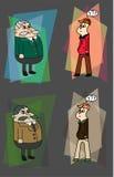 Desenhos animados simples de um chefe e de seu subordinado ilustração stock