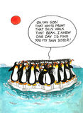 Desenhos animados sobre a semelhança dos pinguins Foto de Stock
