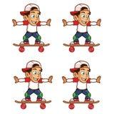 Desenhos animados Sprite do rolamento do menino do skater Imagens de Stock