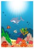 Desenhos animados subaquáticos bonitos do mundo ilustração royalty free