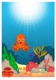Desenhos animados subaquáticos bonitos do mundo ilustração do vetor