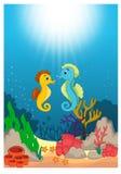 Desenhos animados subaquáticos bonitos do mundo ilustração stock