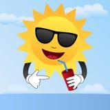 Desenhos animados Sun com óculos de sol Fotos de Stock