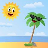 Desenhos animados Sun e caráteres da palma Foto de Stock Royalty Free