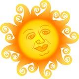 Desenhos animados Sun Face/ai Imagens de Stock