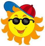 Desenhos animados Sun no boné de beisebol Fotografia de Stock Royalty Free