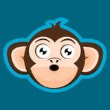 Desenhos animados surpreendidos da cabeça do macaco do macaco Foto de Stock Royalty Free