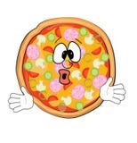 Desenhos animados surpreendidos da pizza Imagens de Stock