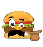 Desenhos animados surpreendidos do hamburguer Imagem de Stock