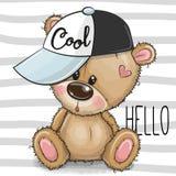 Desenhos animados Teddy Bear fresco com um tampão cor-de-rosa em fundo listrado ilustração royalty free