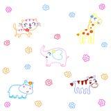 Desenhos animados tirados mão dos animais Imagens de Stock