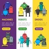 Desenhos animados Toy Robots Banner Set bonito Vetor Imagem de Stock