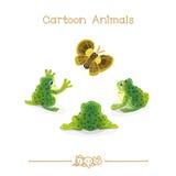 Desenhos animados: Três sapos e borboleta verde Foto de Stock Royalty Free