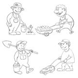 Desenhos animados: trabalho dos jardineiro, esboço Fotografia de Stock Royalty Free