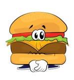 Desenhos animados tristes do hamburguer Imagem de Stock