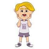 Desenhos animados tristes do rapaz pequeno Fotos de Stock Royalty Free