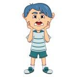 Desenhos animados tristes do rapaz pequeno Foto de Stock Royalty Free