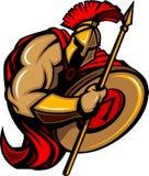 Desenhos animados Trojan espartanos da mascote com a lança Fotos de Stock Royalty Free
