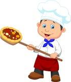 Desenhos animados um padeiro com pizza Imagem de Stock