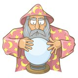 Feiticeiro no cabo cor-de-rosa com bola mágica Imagem de Stock