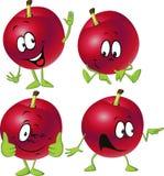 Desenhos animados vermelhos da ameixa com as mãos e os pés que estão isolados Imagens de Stock Royalty Free