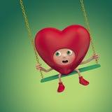 Desenhos animados vermelhos do coração do Valentim engraçado ilustração royalty free