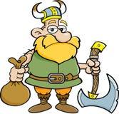 Desenhos animados Viking que guarda um machado Foto de Stock Royalty Free