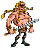 Desenhos animados Viquingue com uma espada ilustração stock