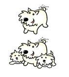 Desenhos animados Westie e filhotes de cachorro Fotografia de Stock Royalty Free