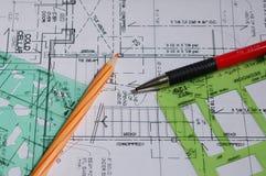Desenhos arquitectónicos Foto de Stock